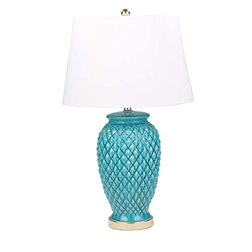 Sagebrook Home 50075-01 Ceramic Textured Table, Teal, 30 Lamps, Turquoise