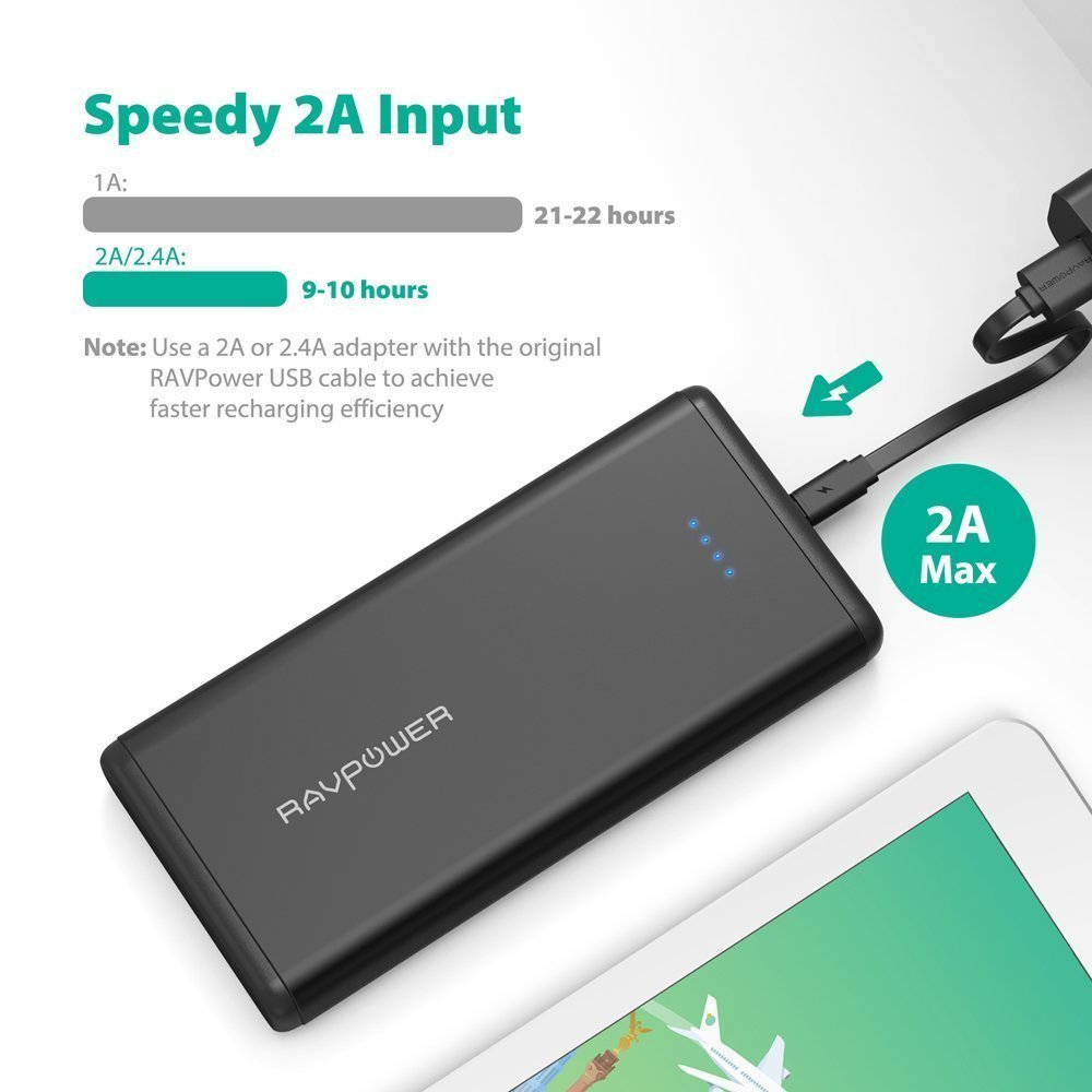 Portable Charger RAVPower 20000mAh USB External Battery Pack Dual iSmart 2.0 USB Ports, 3.4A Max Output, 2A Input Power Bank iPhone, iPad, Galaxy ...