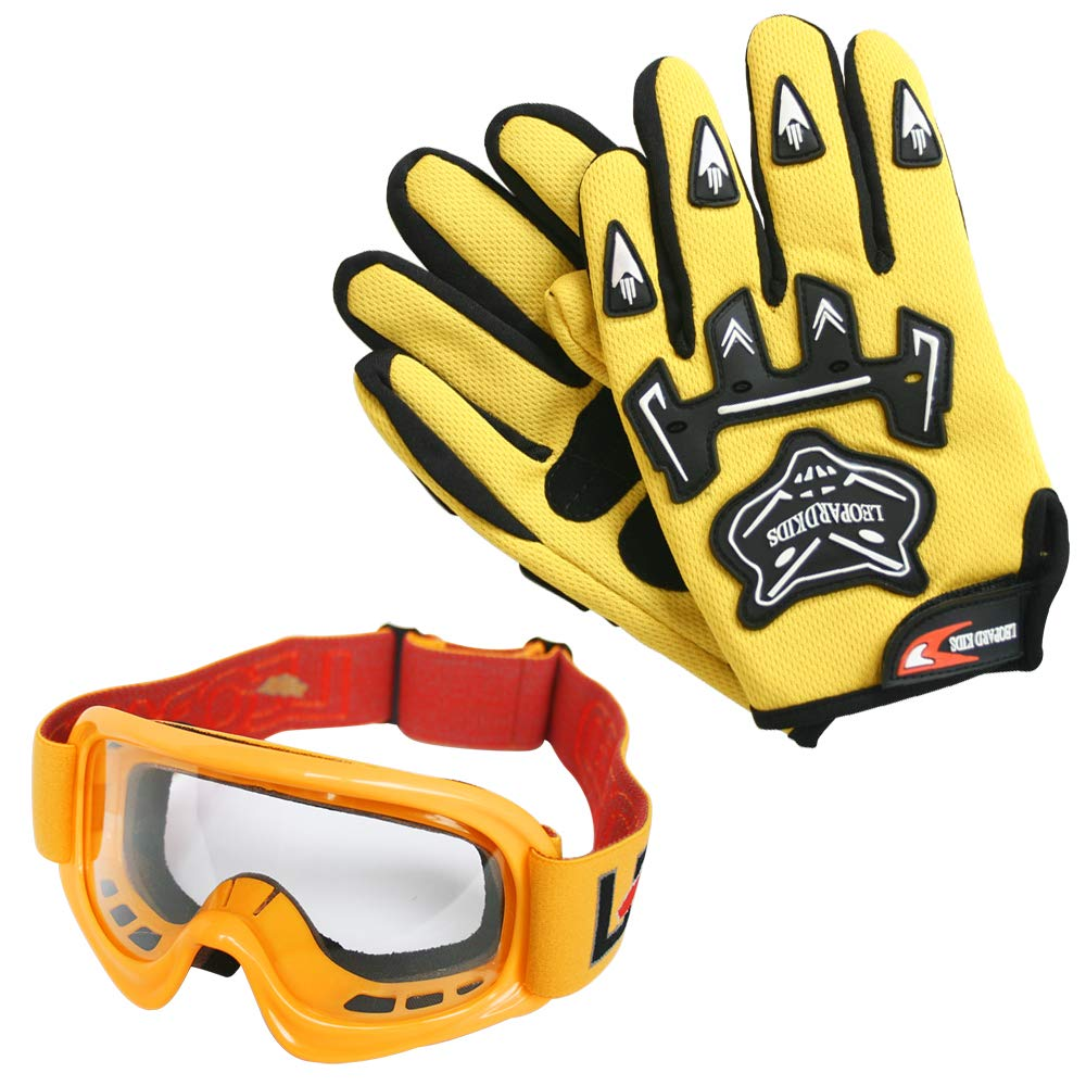 /& Goggles /& Camo Motocross Suit Jacket L 7cm M 7-8 Yrs Leopard LEO-X16 Red Kids Motocross Helmet L 53-54cm /& Gloves