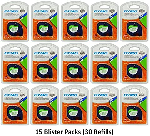 Dymo 10697 Self-Adhesive White Paper Labeling Tape for LetraTag (LT) Label Makers; 15 Blister Packs (30 Refills); Each Blister Pack with Hang Hole contains Two 1/2