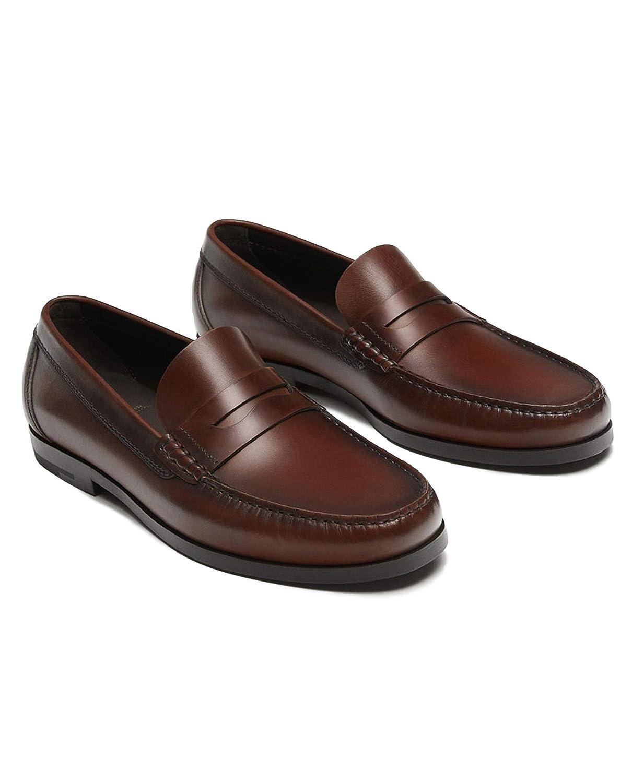 MASSIMO DUTTI - Mocasines de Cuero para Hombre Marrón marrón, Color Marrón, Talla 45 EU: Amazon.es: Zapatos y complementos