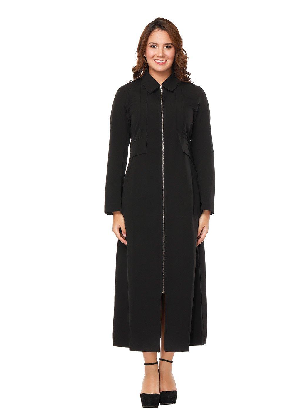 Women Modest Zipper Up Slim fit Long Sleeve Maxi Muslim Abaya Trench Coat Jacket Dress Overcoat (L, Black)