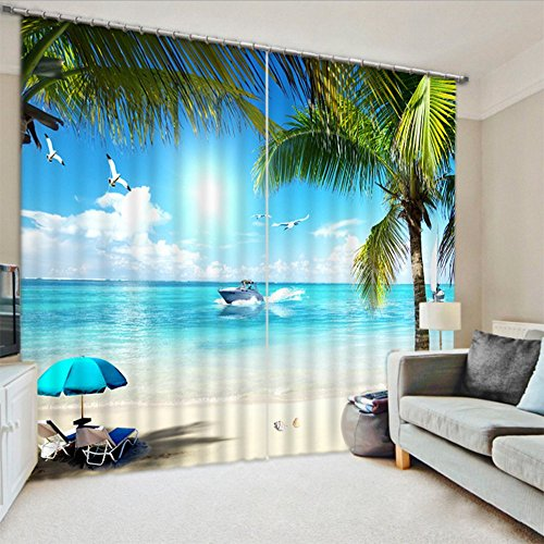LB Teen Kids Decor Collection,2 Panels Room Darkening Blackout Curtains,Tropical Beach Curtains 3D Effect Print Window Treatment Curtains Living Room Bedroom Window Drapes,60 x 65 Inches (Room Tropical Design Living)