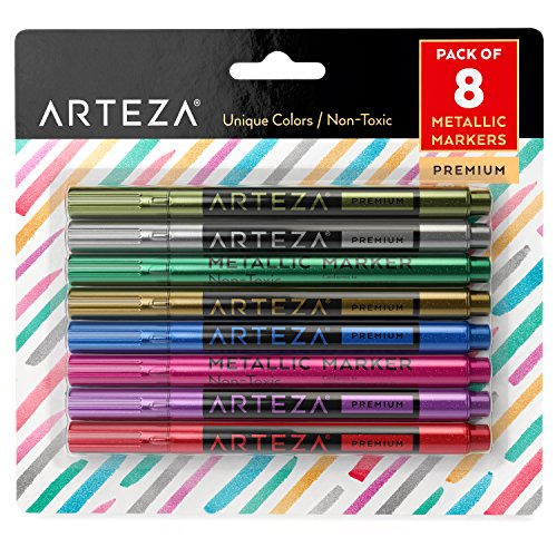 Arteza Wine Glass Metallic Markers - Pens (Set of 8)