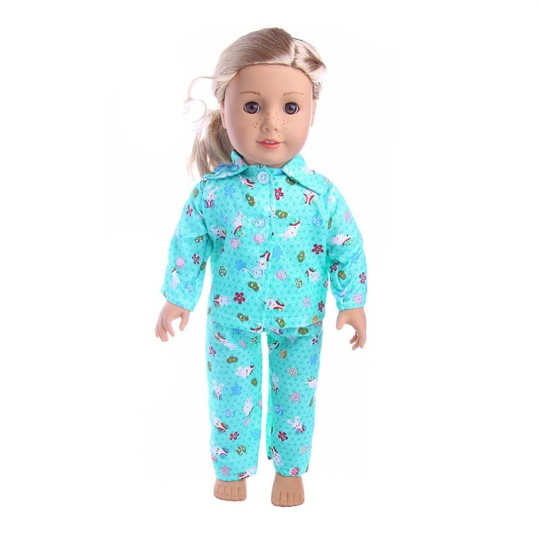sunnymi® Cute Design Pajamas Nightgown Clothes for 18 inch Our Generation American Girl Doll (K)