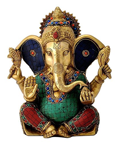 11 Inches Large Ganesh Statue Turquoise Success Sculpture Elephant God Figurine Long Ear Brass Vinayak Ganesha