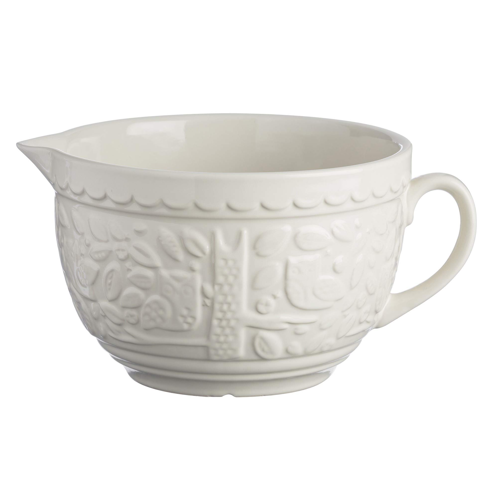 Mason Cash In The Forest Stoneware Batter Bowl, Large Handled Jug with Pouring Spout, 9-3/4-Inches by 7-1/2-Inches by 5-Inches, Cream by Mason Cash