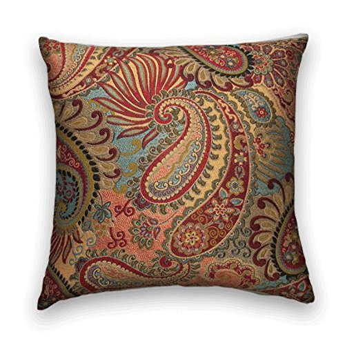 Red Blue Gold Paisley Floral Decorative Throw Pillow Cover