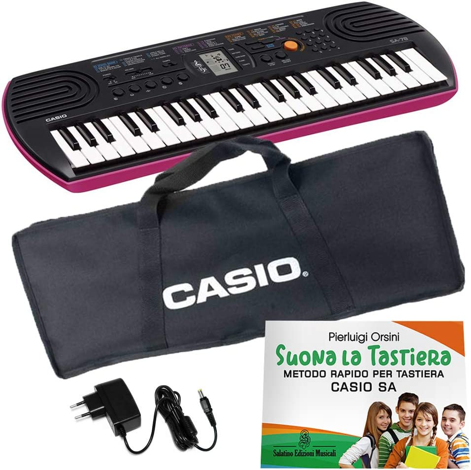 Borsa Custodia Imbottita per Tastiera Casio SA76 SA77 SA78 ffalstaff /® con Alimentatore e Kit Cancelleria