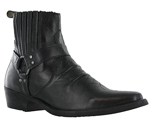f279de547c73 Maverick Mens Leather Cowboy Pull On Western Harness Cuban Heel Smart Ankle  Boots UK 7-12  Amazon.co.uk  Shoes   Bags
