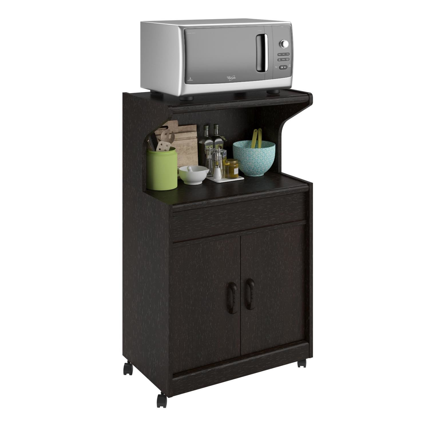 Amazon.com   Elegant Look Howland Microwave Cart With Cabinet And Drawer  Storage, Caster Wheeled   Kitchen Islands U0026 Carts