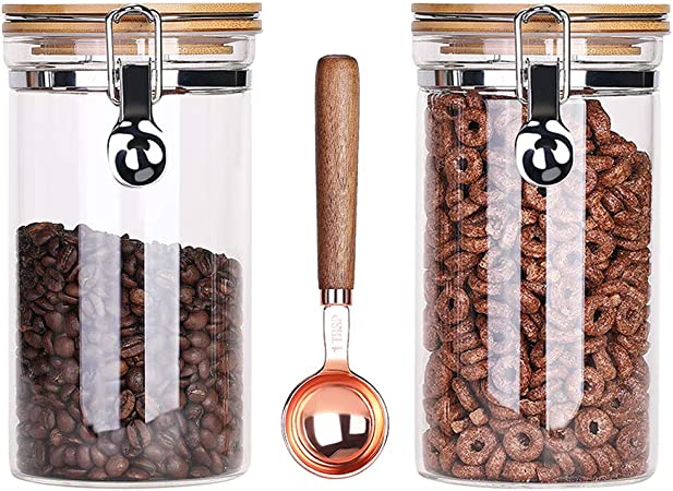 Kebert Clear Glass Storage Containers with Airtight Locking Clamp Bamboo Lids