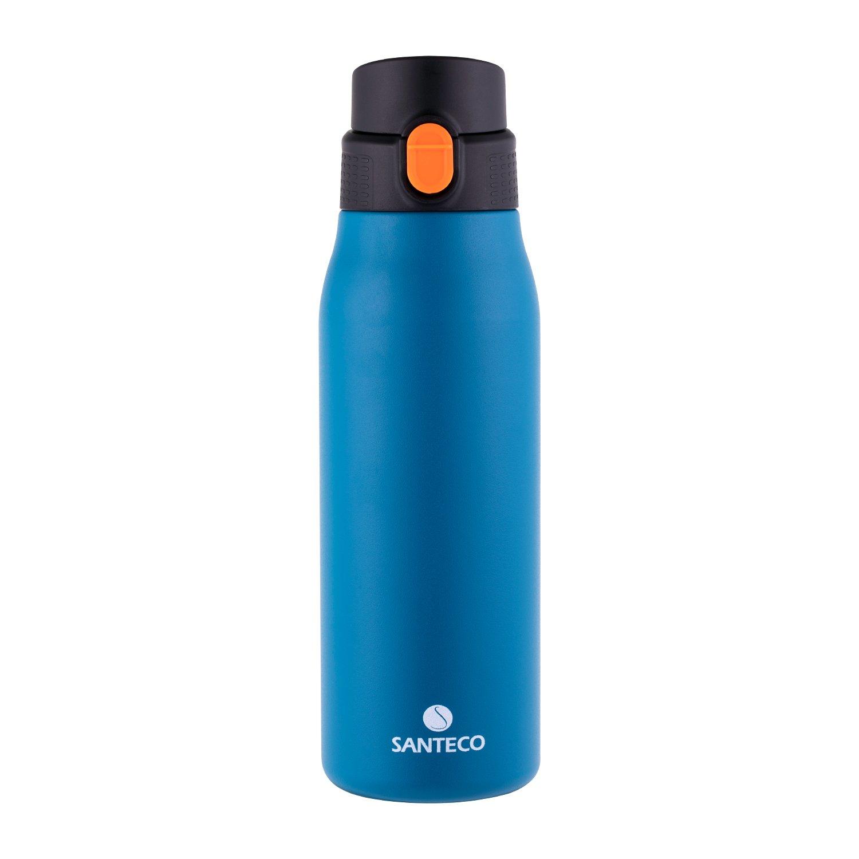 SANTECO One-Handed Operation Vacuum Insulated Water Bottle,27oz Indigo Blue