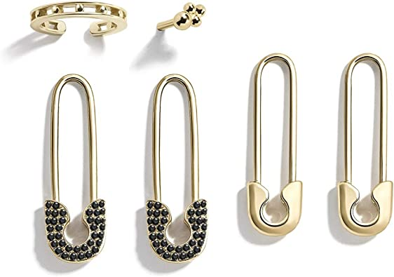 34/'/' Gold Safety Pin Evil Eye Small Earring 14K