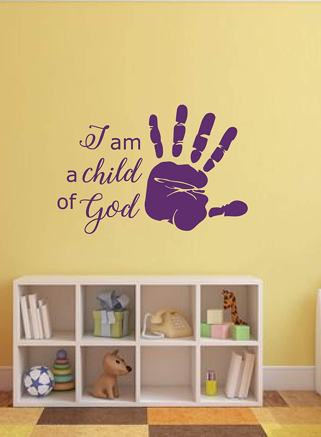 CustomVinylDecor Religious I am a Child of God Quote Vinyl Wall Sticker | Home Decor Sticker for Bedroom, Playroom, or Bible School | Small, Large Sizes | Black, Brown, Green, Gold