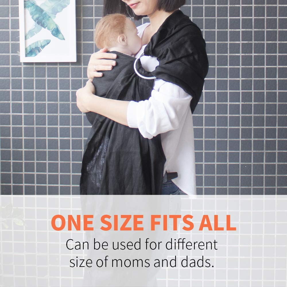 Best Shower Gift for Boys or Girls Lightweight Breathable Extra Soft Linen Baby Sling for Newborn Toddlers Black and Kids Infant Vlokup Baby Ring Sling Baby Wrap Carrier