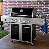 Gas Grill 5 Burner Stainless Steel and Porcelain Smoker Box Outdoor BBQ Patio Deck