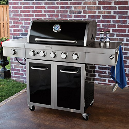 Gas Grill 5 Burner Stainless Steel and Porcelain Smoker Box Outdoor BBQ Patio Deck by MM