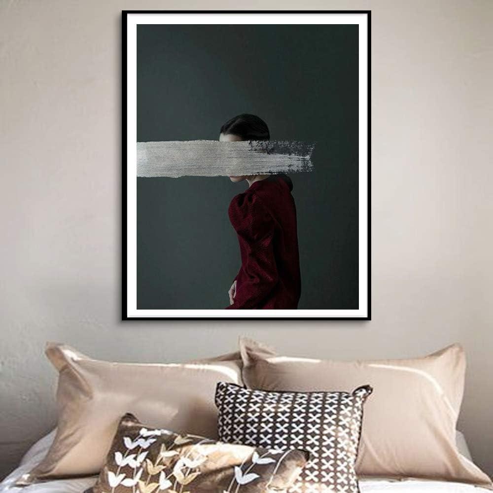 BailongXiao Moderno nórdico Lienzo en Blanco y Negro Arte Pared Cartel Abstracto Chica Pared Imagen Dormitorio Sala de Estar Mural,Pintura sin marcoCJX1036-70X100cm