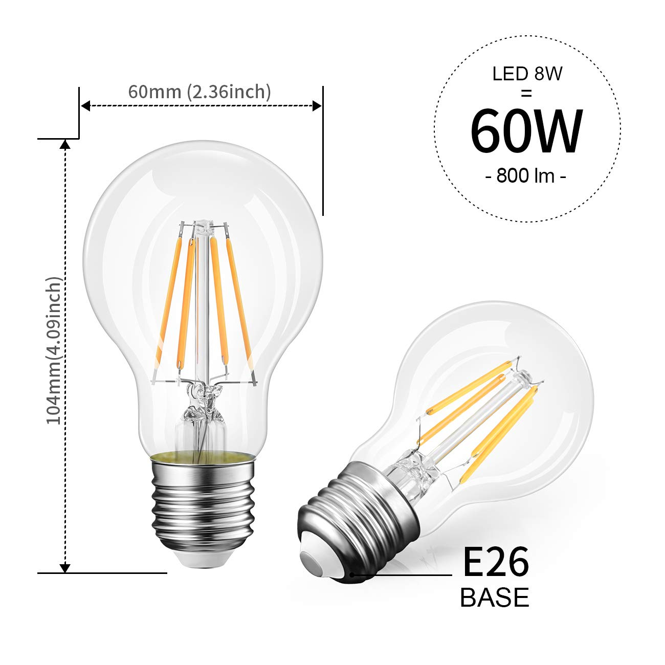 ,3000K Soft White 800 Lumens,Omnidirectional 60W Equivalent UL-Listed Pack of 6 A19 LED Vintage LED Filament Bulb E26 Base,LVWIT Dimmable 8W