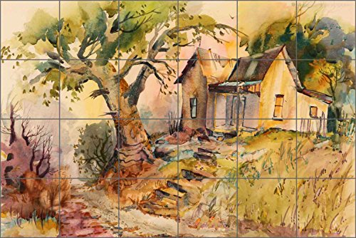 - Tile Mural Backsplash Hill House by Warren Cullar Country Life Art Ceramic Kitchen Shower Bathroom (36