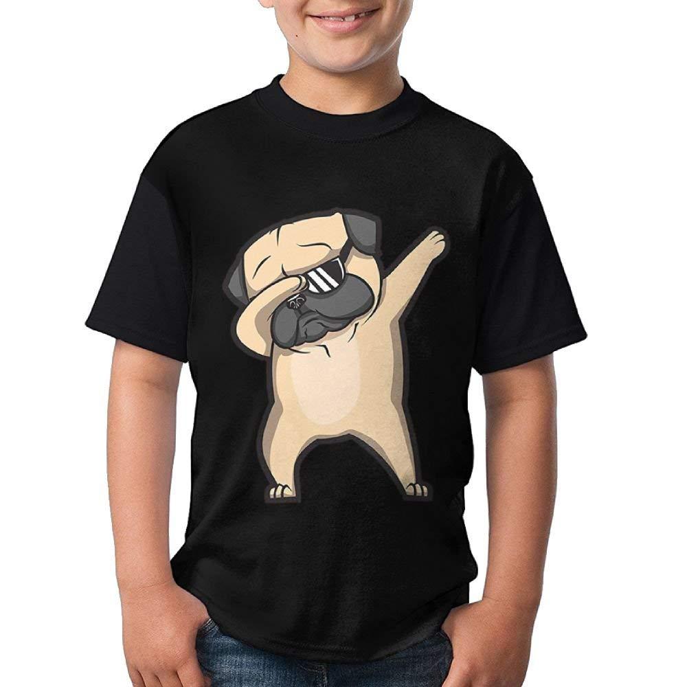 Dabbing Pug Youth Boys/Girls Summer Short Sleeve Tops T-Shirt
