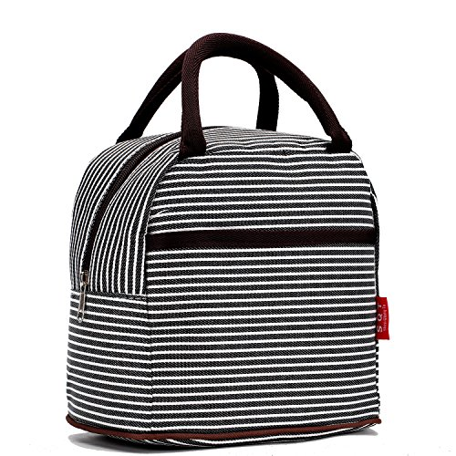 (Small Insulated Lunch Bags For Women Girls Cooler Lunch Boxes For Teen Cute Resable Lunch Tote Bag For Picnic School Office Outdoor - Black Line)