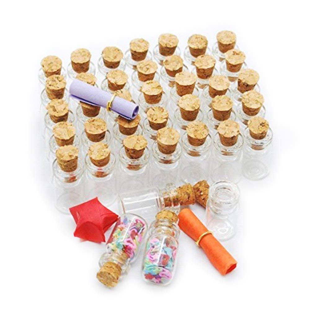 danmu arte 50pcs Pequeño, 1 ml Mini botellas de vidrio tarros con tapón de corcho: Amazon.es: Jardín