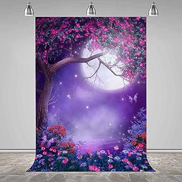 CdHBH 10x12ft Fantasy Moon Bridge Flower Tree Cloud Festival Venue Party Arrangement Portrait Clothing Photo Photography Background Cloth Wallpaper Home Decoration Vinyl Material