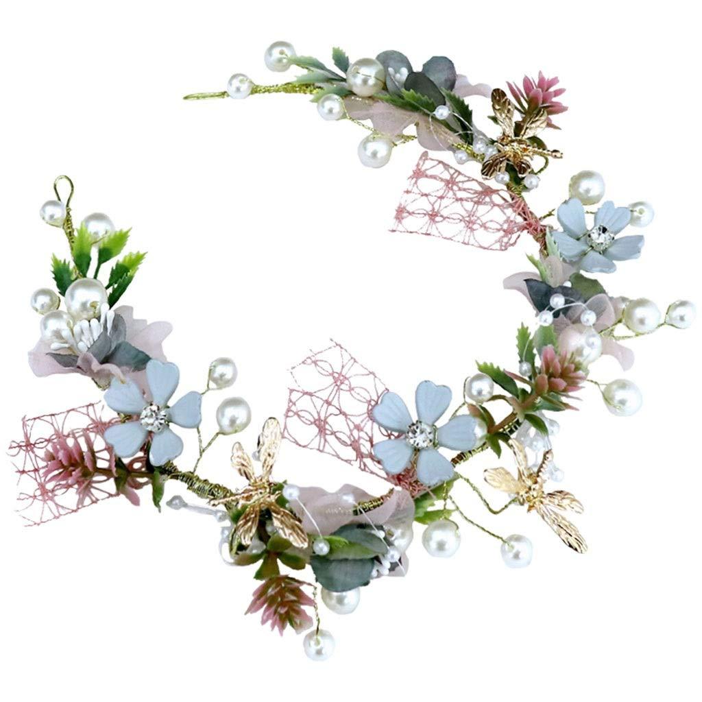Wreath Flower Girl Headdress Handmade Earrings Neckwear Set Wedding Bridal Hair Accessories (Color : A)