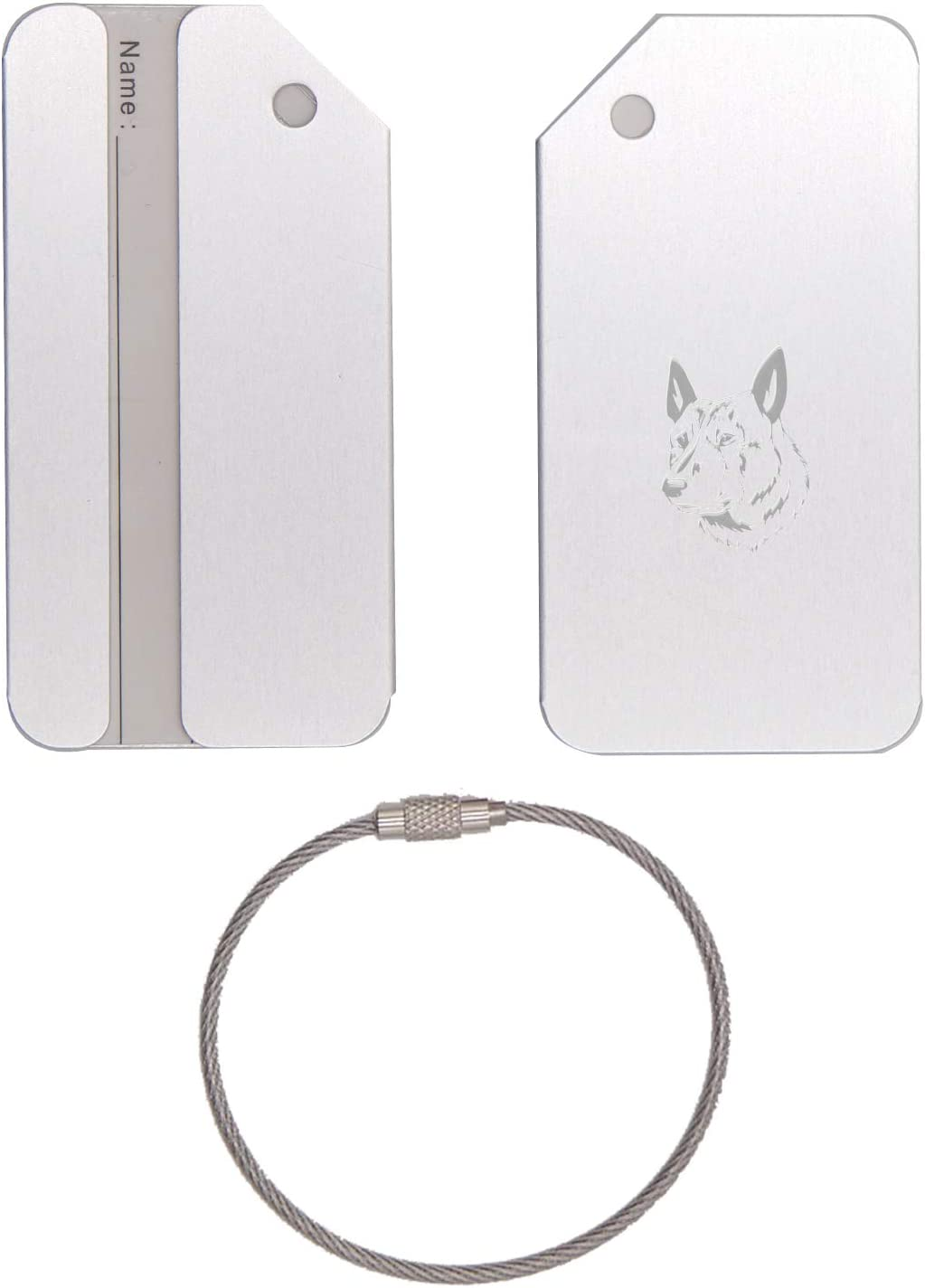 Dutch Shepherd Dog Stainless Steel - Engraved Luggage Tag (Metallic Silver) - United States Military Standard - For Any Type Of Luggage, Suitcases, Gym Bags, Briefcases, Golf Bags