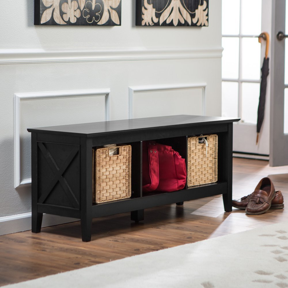 Amazon.com: Belham Living Hampton Storage Bench - Black: Kitchen ...