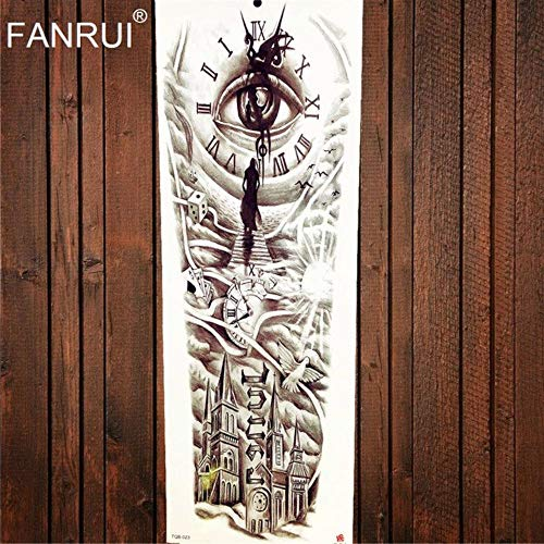 48x17cm Designs Full Body Arm Fake Flash Temporary Tattoo Eye Clock Totem Waterproof Black Tattoo Sticker Castle Men Women Old School (Atqb023) ()