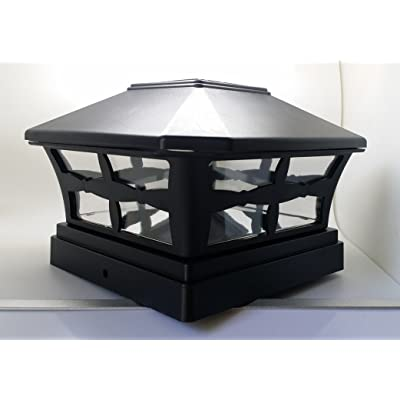 """2 Piece Solar BLACK FINISH Post Deck Fence Cap Lights for 5"""" X 5"""" Vinyl/PVC or Wood Posts With White LEDs and Clear Lens"""