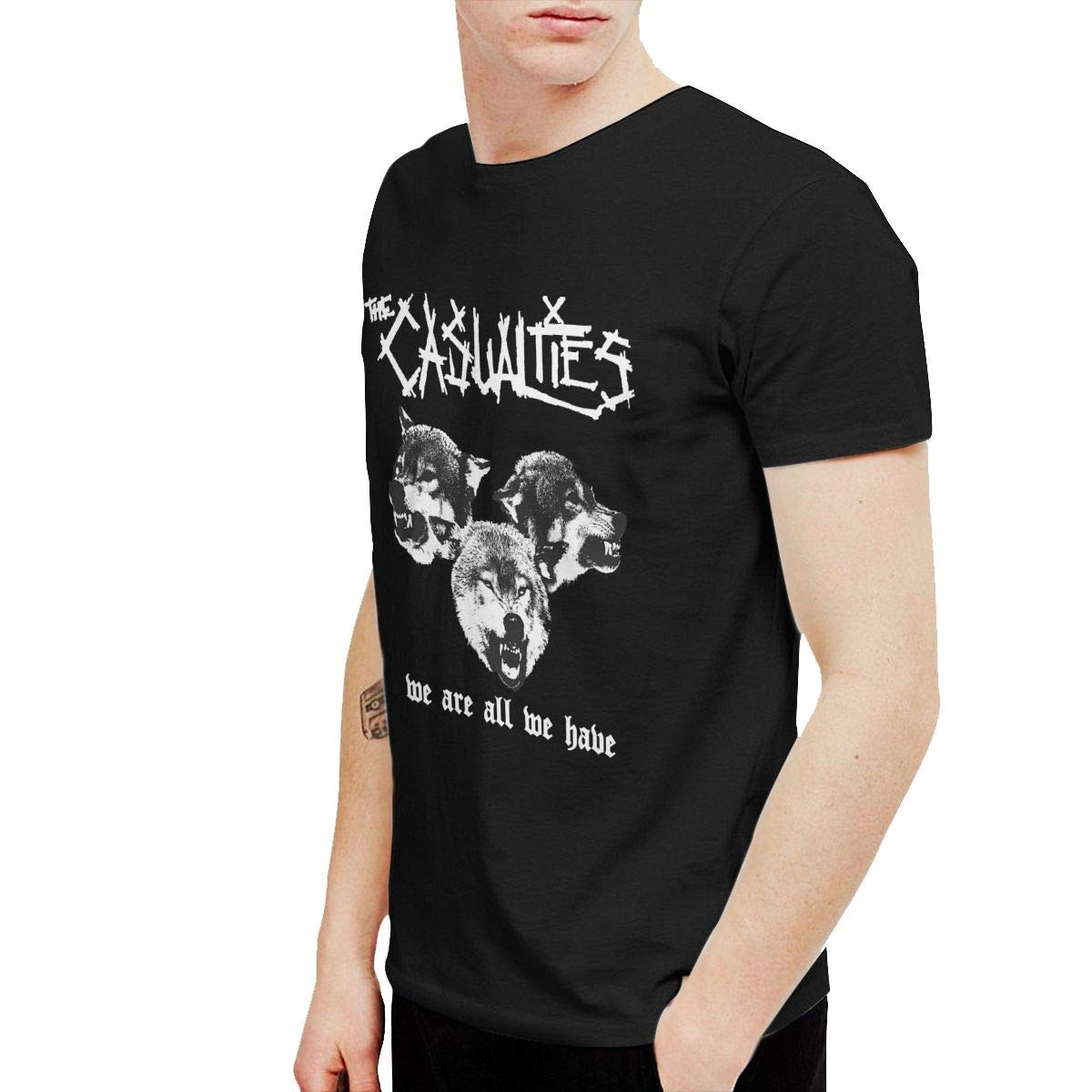 Rebecca-P Mens Classic The Casualties We are All We Have Tee and Washed Denim Hat Casquette Black