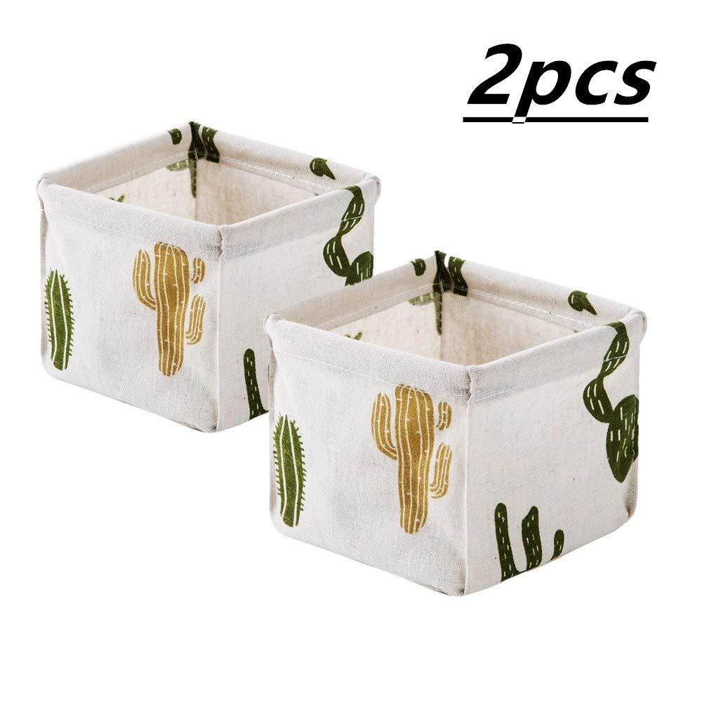 LEIXSON 2pack storage box basket organizer cotton and linen desktop storage box desk stationery storage basket Dressing table cosmetic debris sorting box