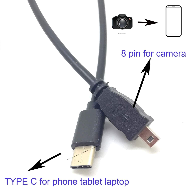 OTG Data Cable Type-C USB-C Smart Phone to for Nikon Camera UC-E6 UC-E23 UC-E17 Photo Transfer Cord for Nikon SLR DSLR D3300 D750 D5300 D7200 D3200 Coolpix L340 L32 A10