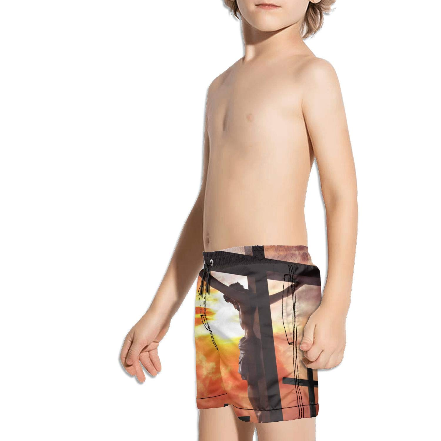 Ash Wednesday Jesus Cross Poster Kids Beach Fully Lined Drawstring Swimming Trunks Shorts