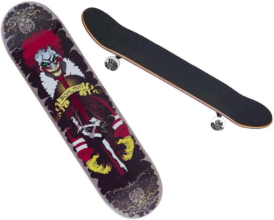 LIUFS-スケートボード プロのスケートボード片面印刷クルーズ船青少年男の子と女の子成長ボードメープルボードホリデーギフト-片面漫画シリーズ-ピエロ Single side printing