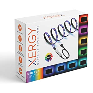 "XERGY USB 5V 5050 RGB LED Flexible Strip Light Multi-Color Changing Lighting Kit, TV Background Lighting with Mini Controller for TV PC Laptop Bias Lighting (3 Meter for 40-49"" TV's)"