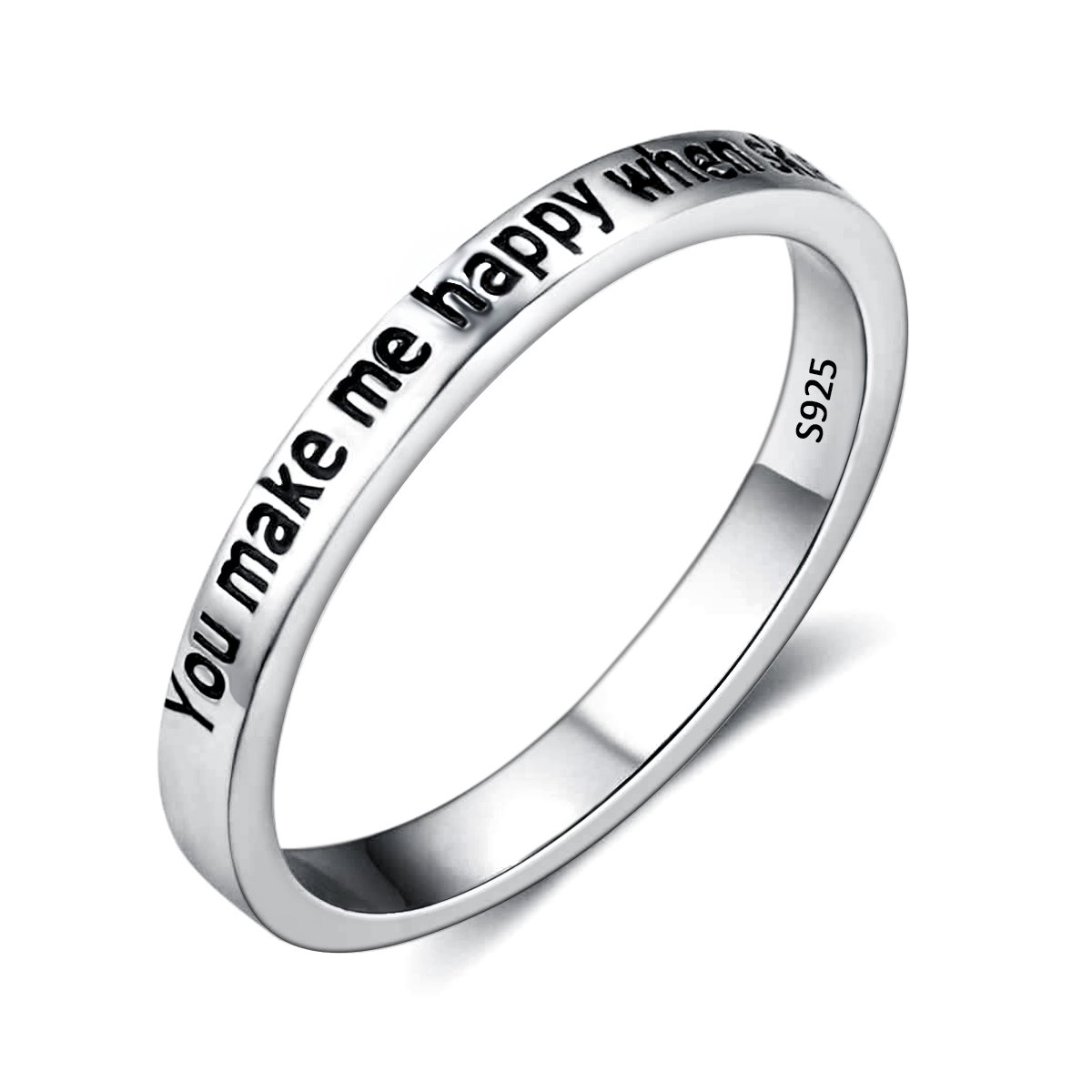 EVER FAITH 925 Sterling Silver ''You Make Me Happy When Skies Are Grey'' Engagement Promise Ring Size 8