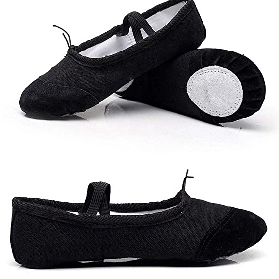 Busirde Ballet de los ni/ños de Zapatos pr/ácticas de Baile Zapatos elasitc Sin Lazo Zapatillas para Adultos Pointe Danza de la Gimnasia Negro 24#