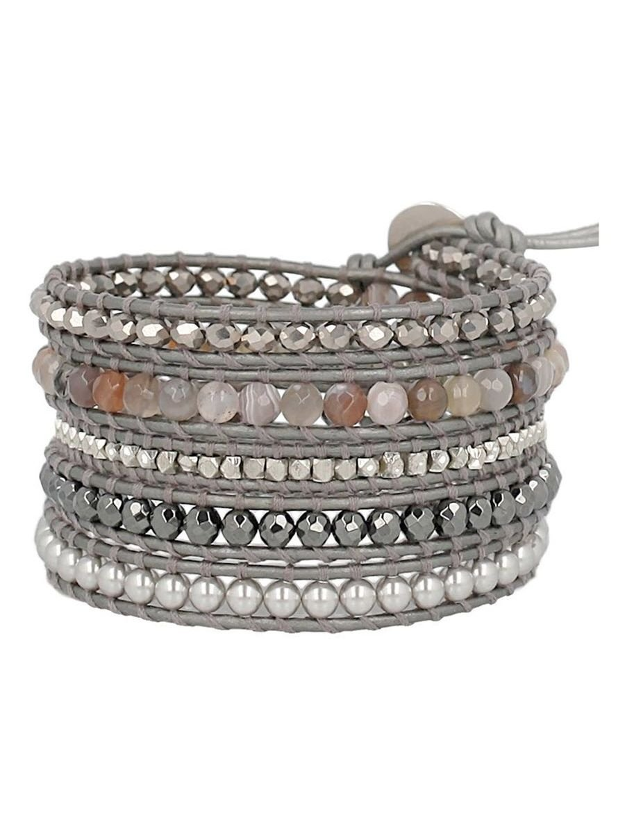 Chan Luu Grey Mix Sectioned Wrap Bracelet on Grey Pearlescent Leather