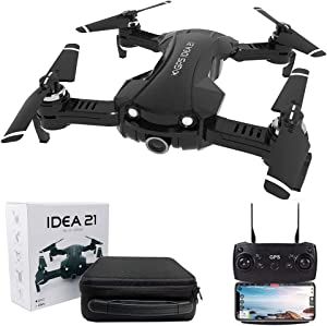 le-idea GPS Drones with Camera 4K for Adults, IDEA21 5G WiFi FPV Live Video with Adjustable Wide-Angle Camera and GPS Return Home Quadcopter, 16 Mins Long Flight Time RC Quadcopter Helicopter