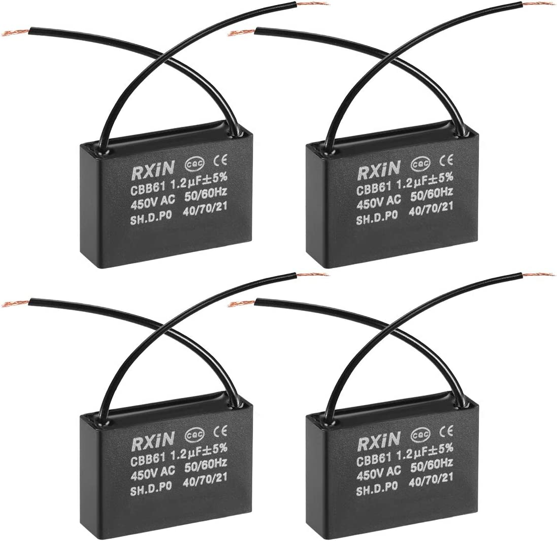 sourcing map CBB61 Run Capacitor 450V AC 5uF 2 Wires Metallized Polypropylene Film Capacitors for Ceiling Fan 3pcs