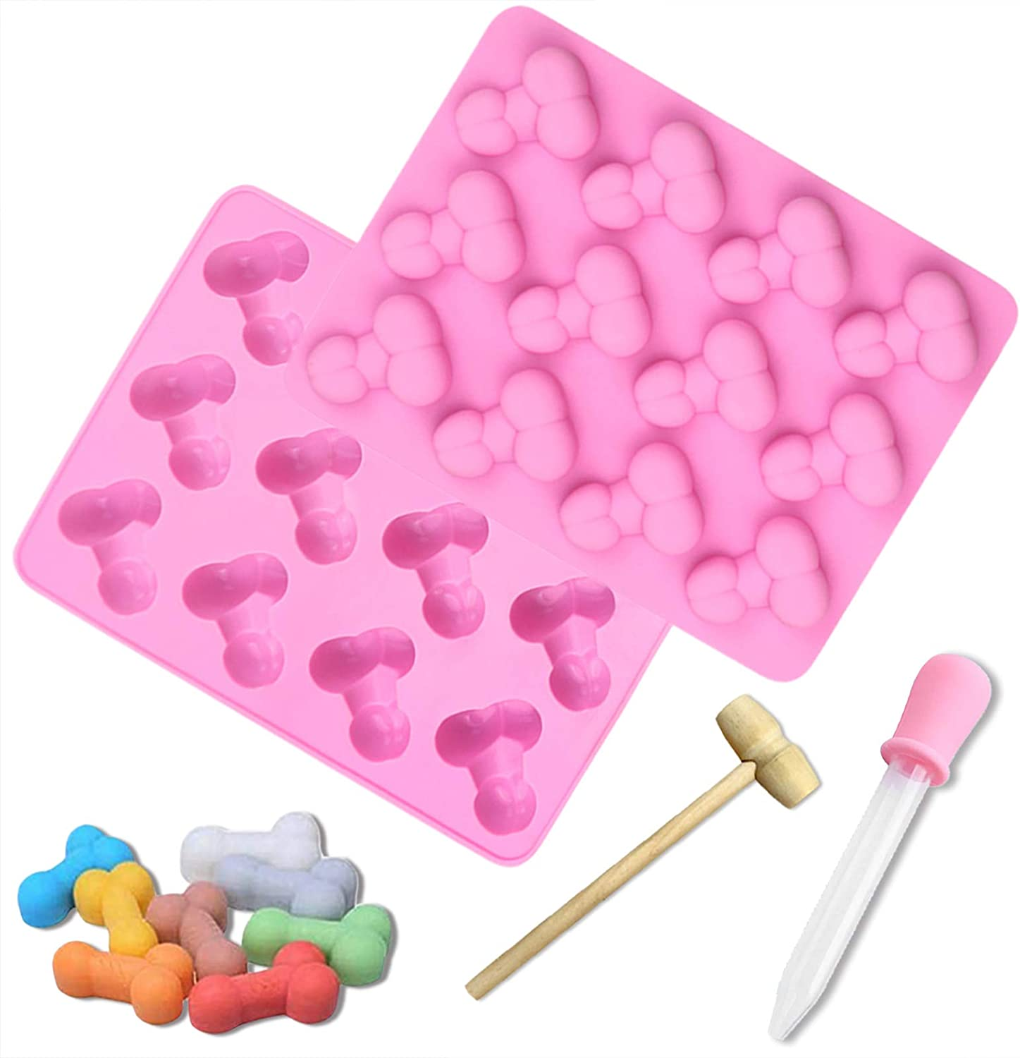 2PCS Silicone Mold Funny Shape Bakeware Molds,Chocolate Mold with Wooden Hammers and Droppers,Funny 12-Cavity Candy Mold Ice Mold Soap Mold for Single Party Birthday ,Reusable Silicone Mold. (Pink)