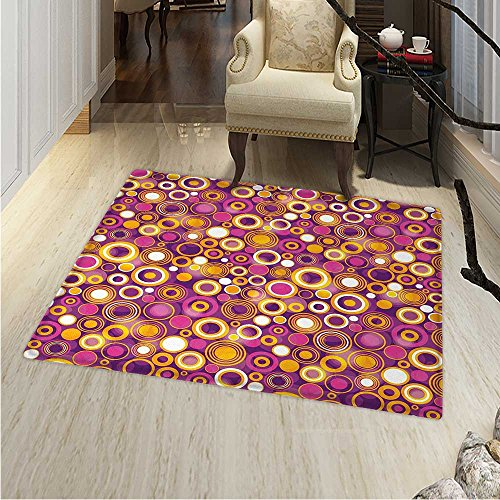 Geometric Area Rug Retro Style s Like Vintage Circles Rounds Water Drops Like Image Artwork Indoor/Outdoor Area Rug 2'x3' Multicolor