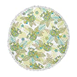 KESS InHouse Julia Grifol Summer Birds Green Lime Round Beach Towel Blanket