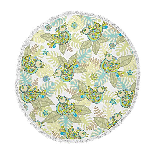 KESS InHouse Julia Grifol Summer Birds Green Lime Round Beach Towel Blanket by Kess InHouse