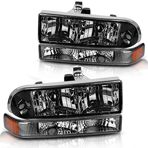 AUTOSAVER88 For 98 99 00 01 02 03 04 Chevy S10 Blazer Headlight Assembly+Park/Signal Lamps,OE Projector Headlamp,Clear housing Smoked cover,One-Year Limited Warranty(4 pcs)